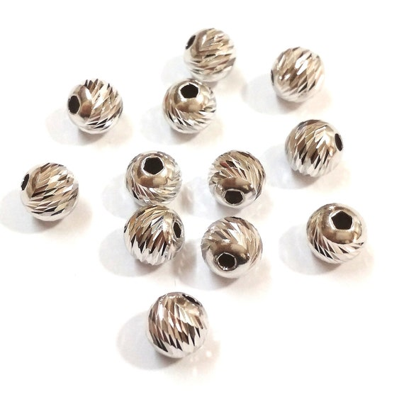 50 pieces Sterling Silver 925 LASER CUT Textured 4mm Round BEADS Jewelry Making