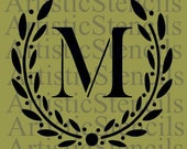 STENCIL Custom Personalized Initial Monogram Wreath - Various sizes