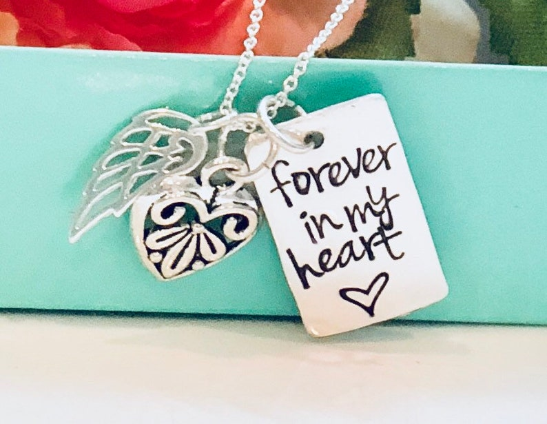 Forever in my Heart Hand Stamped Necklace-Memorial Necklace image 0
