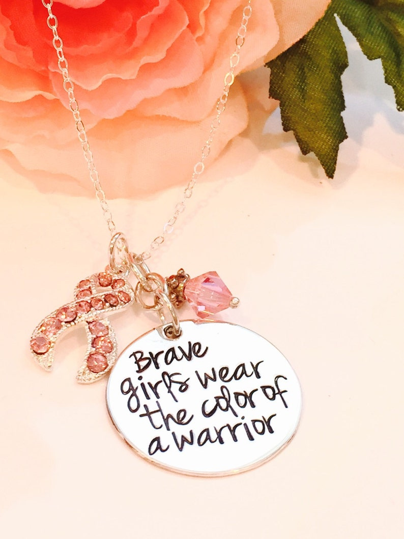 Hand Stamped Cancer Awareness Necklace-Breast Cancer image 0