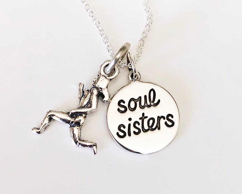Hand stamped sole sister running necklace-half marathon image 0