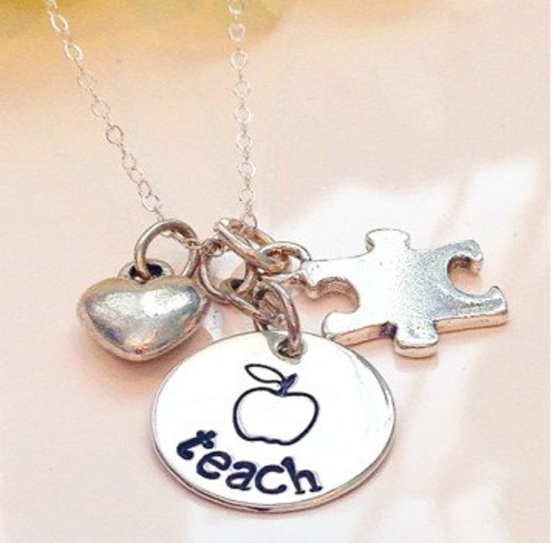 Teacher Necklace-Teacher appreciation gift-Teacher end of image 0