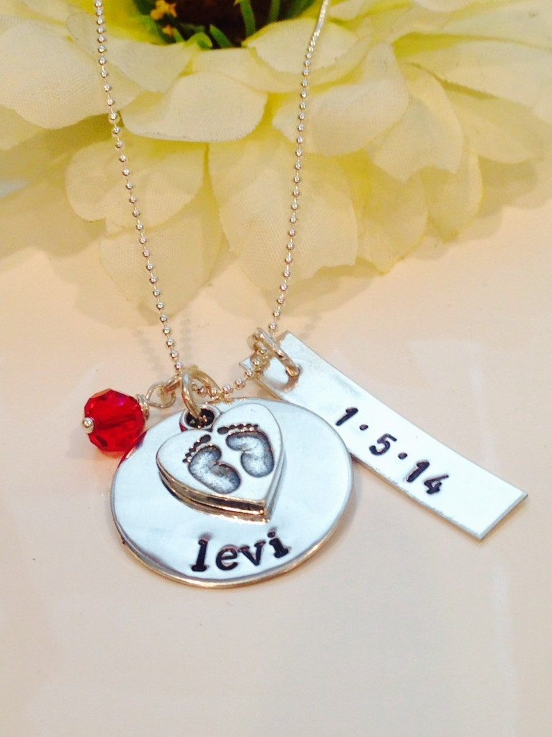 New Mom Necklace Personalized Mom Jewelry New Baby Necklace image 0