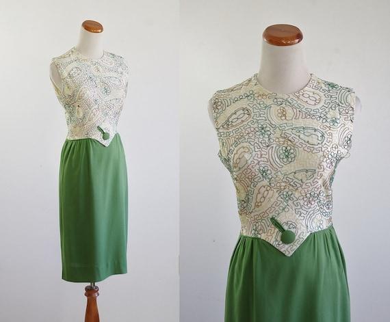Vintage 60s Wiggle Dres, Linen Sheath Dress, 1960s
