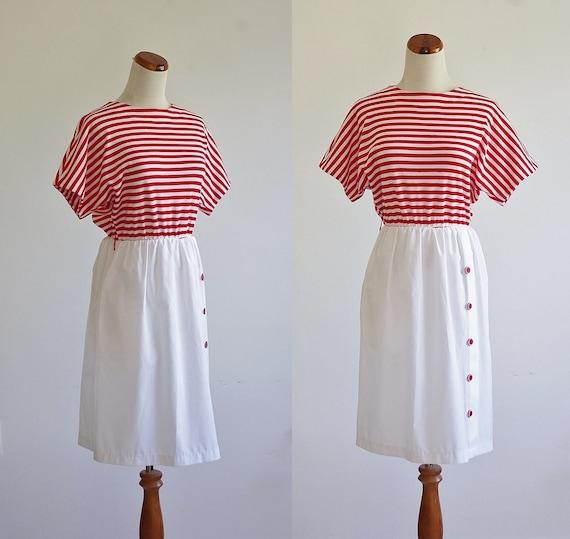 Vintage Red & White Striped Dress, 80s Short Slee… - image 1