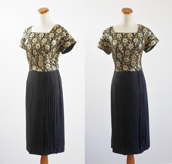 Vintage 50s Dress, 1950s Metallic Brocade Dress, B