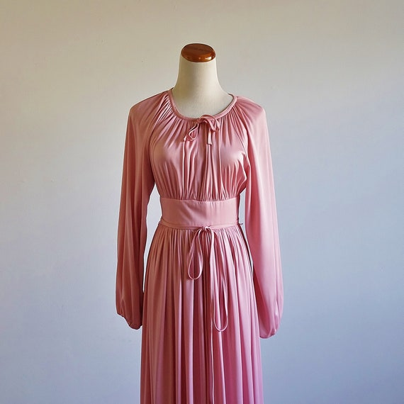 Vintage Disco Dress, 1970s Dress, Draped Pink Dres