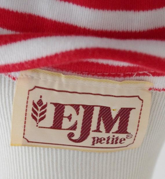 Vintage Red & White Striped Dress, 80s Short Slee… - image 8