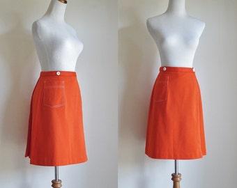 Vintage Skirt, 70s Skort, Orange Skirt Shorts, Double Knit Polyester, Preppy Skirt, 1970s Skort, Small Medium