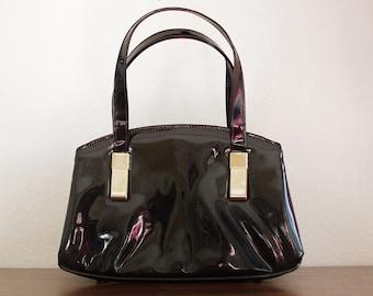 Vintage Patent Black Handbag, Black Purse, Mod Purse, 1960s Purse, Short Handle Bag