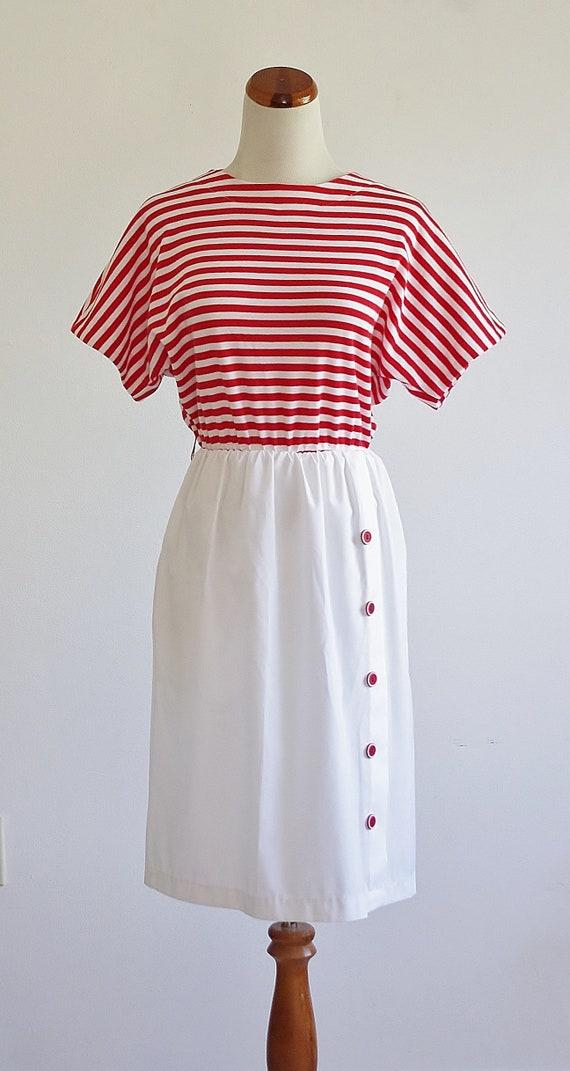 Vintage Red & White Striped Dress, 80s Short Slee… - image 2