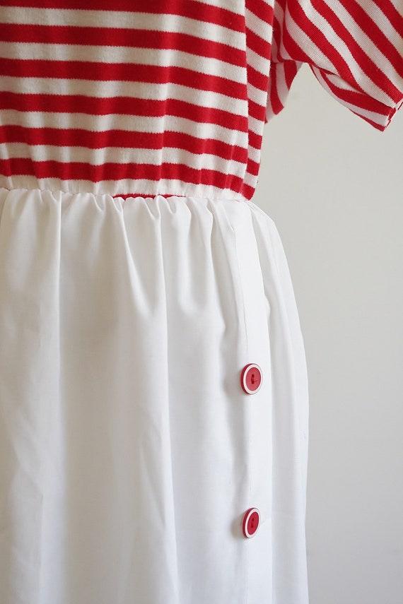 Vintage Red & White Striped Dress, 80s Short Slee… - image 3
