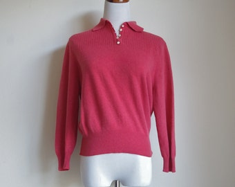 Vintage 50s Sweater, Collared Sweater, Coral Orange Sweater, 1950s Sweater, Pullover Sweater, Dolman Sleeve Sweater, Small Medium
