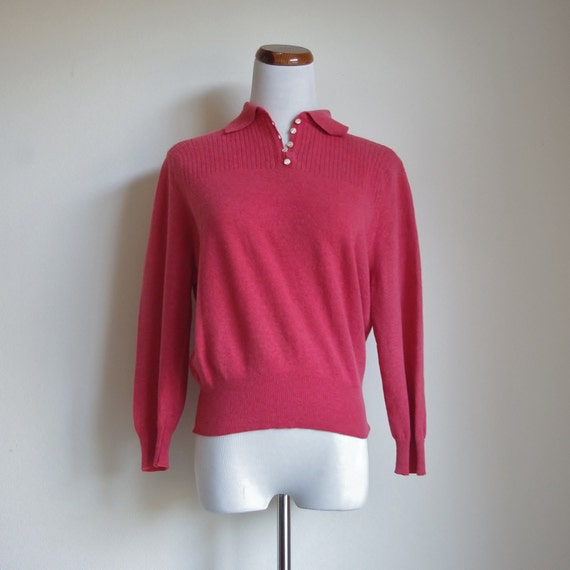 Vintage 50s Sweater, Collared Sweater, Coral Orang
