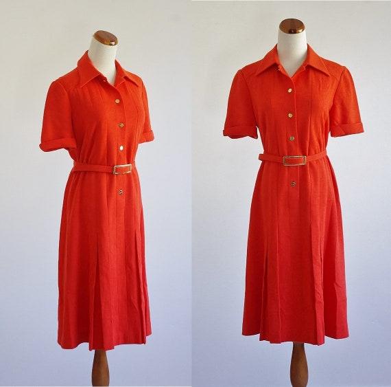 Vintage 70s Knit Dress, Tangerine Orange Dress , C