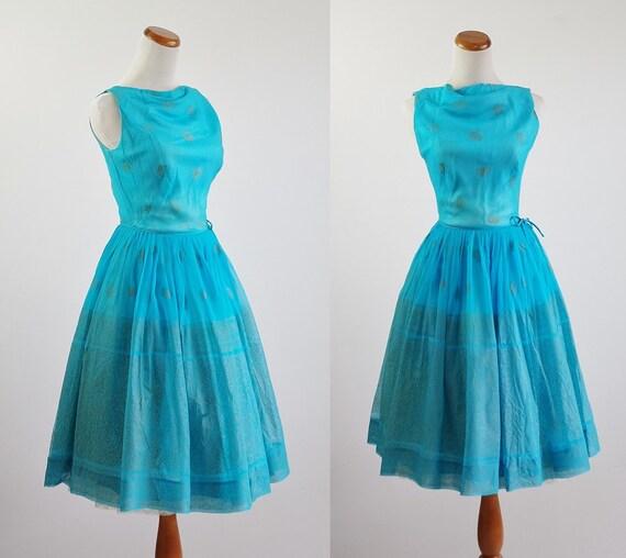1960s sky blue chiffon party dress vintage 50s small 1950s 60s blue chiffon dress The Whitney Dress