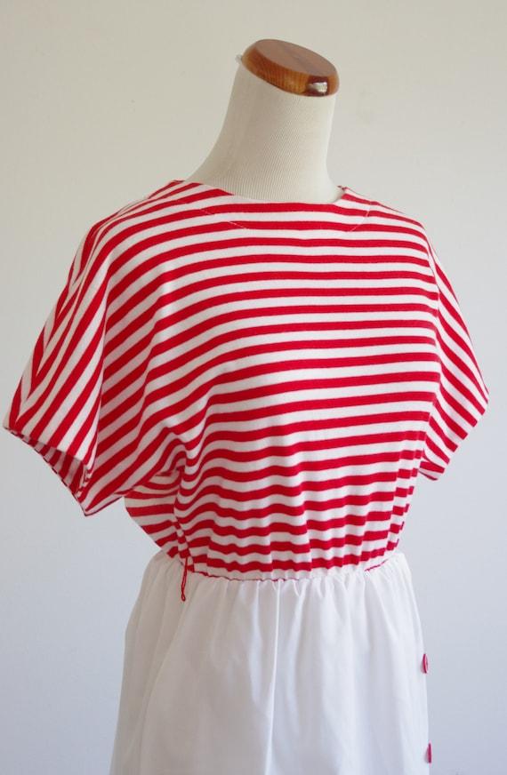 Vintage Red & White Striped Dress, 80s Short Slee… - image 6