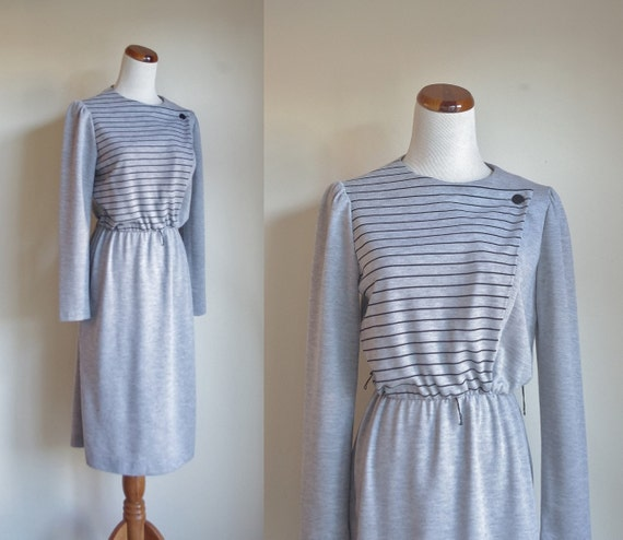 Vintage Jersey Dress, Gray Jersey Dress, Black Str
