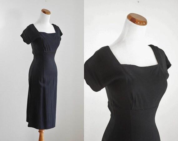 Vintage Women's 50s Dress, 1950s Wiggle Dress, 50s
