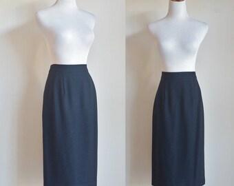 Vintage Wool Skirt, Black Pencil Skirt, 80s Skirt, 1980s Wool Skirt, Basic Skirt, Medium Large