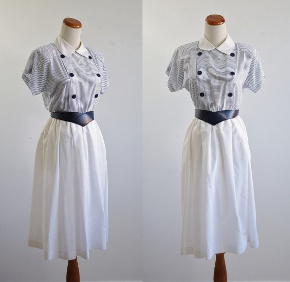 Vintage Nautical Dress, Blue and White Striped Dre