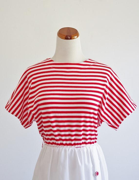 Vintage Red & White Striped Dress, 80s Short Slee… - image 4