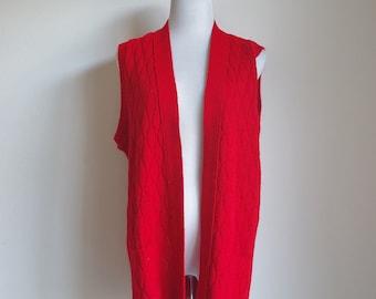 Vintage 70s Vest, Red Knit Vest, Oversized Vest, Sweater Vest, 1970s Red Vest, 70s Knitwear, Acrylic Vest, One Size Medium Large