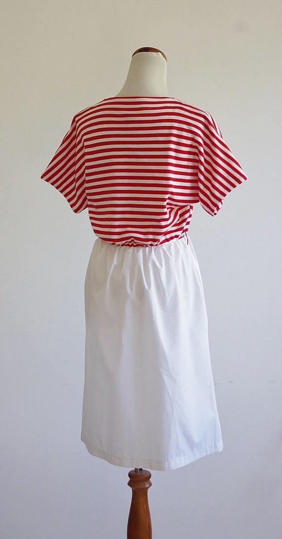 Vintage Red & White Striped Dress, 80s Short Slee… - image 7