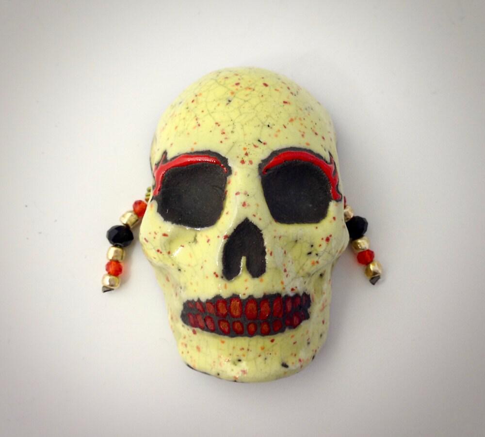Raku Skull Mask Yellow Speckled Glaze Handmade Clay | Etsy
