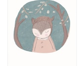 Medium Art Print for Little Boys Room - Bear in Forest With Trees- Slate Green Background