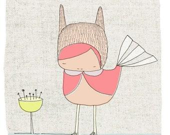 Children's Nursery Art Print - Girl Bunny Bird Creature - Pink - Illustration