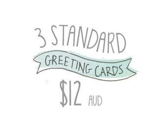 Any 3 Standard Greeting Cards Pack by Honey Cup