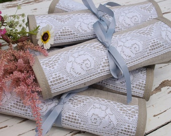 Set of 6 Linen Roll up Bags  Travel roll up Bags Cosmetic organizer Bridesmaids Gifts