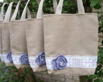 Set of 6 Linen Tote Bags Bridesmaids Tote Bags Linen gift bags Totes Rustic  Wedding Tote Bags