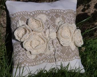 Burlap Ring Pillow Ring Bearer Pillow  Natural White Linen Wedding Ring Pillow with Linen Roses