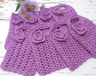 Purple Crocheted Gift Bags Mini Tote Bag Bridesmaids Gift Bags Bridal Party Accesories
