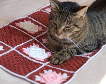 "Crochet Pet  Blanket Cat Blanket Small Dog Blanket Afghans Blanket- size 22 x 13"""