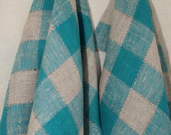 Linen Towels Set of 2 Linen Towels Linen Kitchen Towels- Gray-Green checkered towel - Linen towels