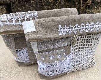 Set of two Linen Boro Style Clutches Bridesmaids Gift Linen Pouches Japanese Style Linen Bags