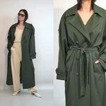 Olive Wool Trench / Vintage 1980s Oversized Army Green Padded Wool Menswear Trenchcoat / Double Breasted Olive Wool Trench Coat