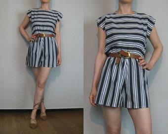 118b4850a07b 80s Black + White STRIPED COTTON Romper Vintage Black White Striped Romper  Shorts Romper White Striped Onesie White Striped Jumpsuit
