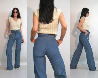 70s Slate Belted Cords 27x34 Vintage 1970s Deadstock Hash Wide Leg Corduroy Pants 27 Waist Steel Blue High Trousers