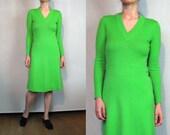 70s Bright Green WOOL Knit Sweater Dress