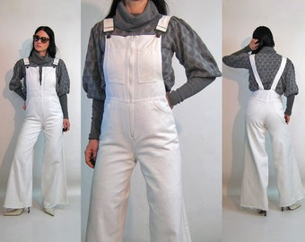 6243d454d734 70s Zip Denim Bellbottom Overalls 29x31   Vintage 1970s Rare Deadstock  White Denim Zip Up Flared Bell Bottom Overall Jumpsuit 29 Waist