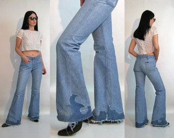 8ffc3faf 70s Lee Flame Patched Flares 29x33 / Rare Vintage 1970s Flame Patch Faded  Lee Flared Jeans / 29 30 Waist Lee Bell Bottom Jeans with Patches