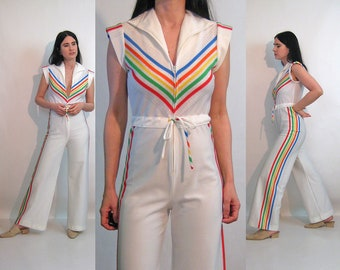 b3cff9d3d875a7 70s Rainbow Chevron Flared Jumpsuit   Vintage 1970s White Rainbow Chevron  Striped Zip Up Drawstring Waist Jumpsuit   Flare Leg Jumpsuit
