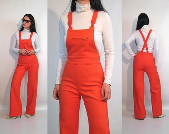 8792bfdbdbff 70s French Wool Overalls   Vintage 1970s Rare Orange Wool Suspender Overall  Jumpsuit   70s Orange Wool Flared Overalls