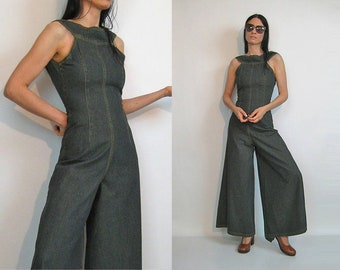 325e77396dc5 Denim Palazzo Jumpsuit   Vintage 90s Wide Leg Denim Jumpsuit   90s does 70s  Denim Jumpsuit   Halter Jumpsuit