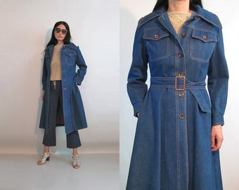 151f74f943a 70s Denim Trench Coat   Vintage 1970s Dark Indigo Denim Trenchcoat or Dress    Belted Denim Trench   70s Pockets Denim Trench Coat w  Belt