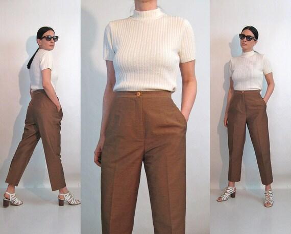 Biba Mocha Silk Trousers / Vintage 1980s Deadstock